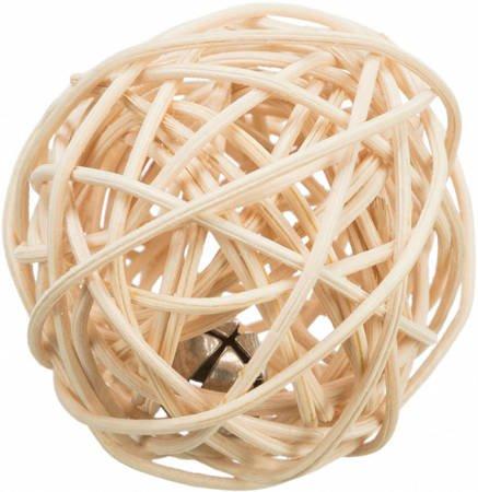 Piłka z rattanu z dzwonkiem dla kota