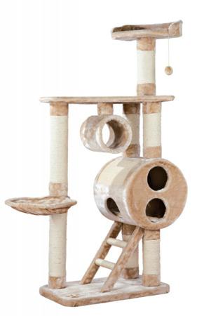 Bardzo rozbudowany, nietypowy drapak dla kota w kolorach jasnego brązu i beżu