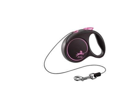 Flexi Black Design Smycz automatyczna Linka XS 3m czarno-różowa
