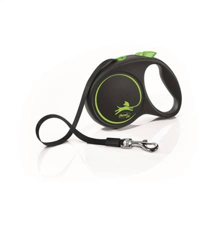 Flexi Black Design Smycz automatyczna Taśma Medium 5m czarno-zielona