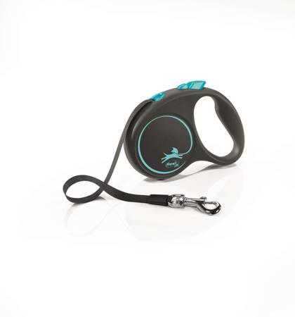 Flexi Black Design Smycz automatyczna Taśma Small 5m czarno-niebieska