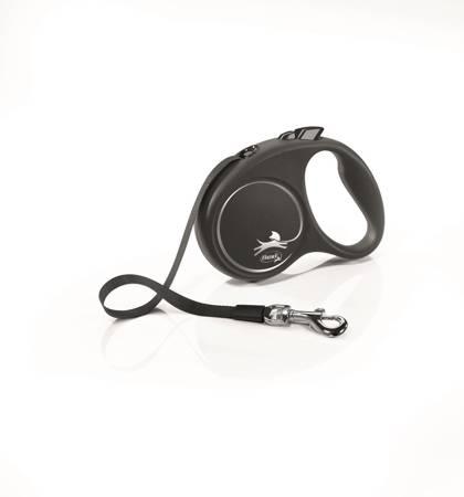 Flexi Black Design Smycz automatyczna Taśma Small 5m czarno-srebrna