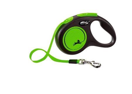 Flexi New Neon Smycz automatyczna Neon zielony taśma 5m Small