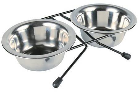 Metalowe miski na stojaku XL dla dużego psa - 2x2,8l