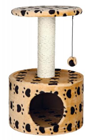 Okrągły beżowy drapak w łapki, z budką, półką na słupku i piłeczką dla kota