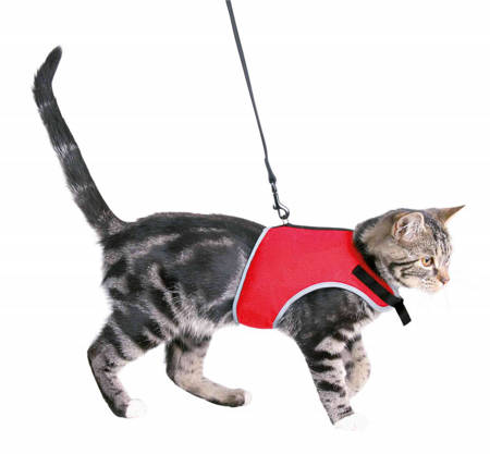 Szelki dla kota bezuciskowe z elastyczną smyczą różne kolory